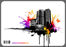 Urban rainbow background. Urban background with rainbow-colored splats and butterflies Stock Image
