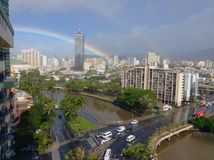 Urban rainbow over the river Stock Image