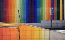 Urban rainbow. Striped color wall in Lisboa, Portugal Stock Image