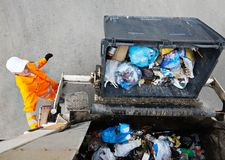 Urban recycling garbage services Stock Photos