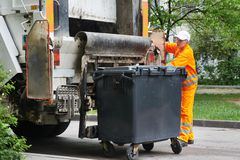 Urban recycling waste and garbage services Royalty Free Stock Image