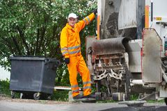 Urban recycling waste and garbage services Royalty Free Stock Photos