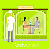 Urban Restaurant Facade with Customers Stock Images