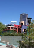 Urban retreat. Tucson Arizona convention center courtyard with a view of downtown buildings royalty free stock photos