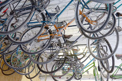 Urban retro bicycle, service and Bicycle rental. Many colorful Bicycles stanging in a row Royalty Free Stock Images