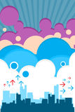 Urban retro city with clouds. Vector - Urban retro city with colorful clouds Stock Image
