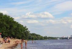 Urban river beach Royalty Free Stock Image
