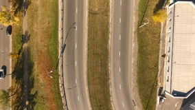 Urban road with the bird's flight. View From Copter.  stock video