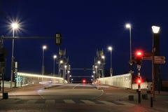 Urban road bridge at night stock photography
