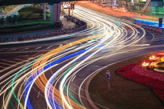 Urban road car light trails Royalty Free Stock Image