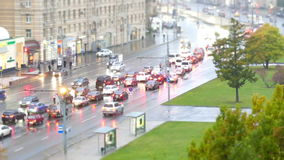 Urban road with cars and pedestrians Russia Moscow stock footage