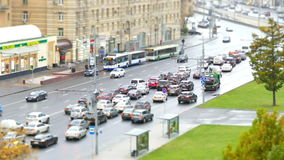 Urban road with cars and pedestrians Russia Moscow. Road and the cars in  city and pedestrians on  sidewalks stock video