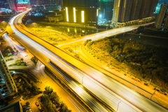 Urban road closeup at night Royalty Free Stock Photography
