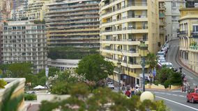 Urban road traffic and modern residential buildings in Monte Carlo, Monaco life. Stock footage stock video
