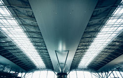 Urban roof at airport with huge windows Royalty Free Stock Photo
