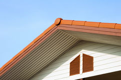 Urban roof gable with blue sky. The roof gable with blue sky found in the suburb stock image