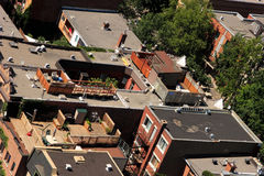 Urban roof patios and terraces. Outdoor terraces and patios on roofs in Montreal, Quebec, Canada Stock Photo