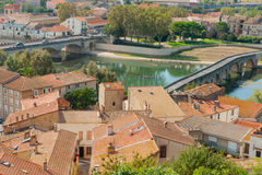 Urban roof tops and Orb River and bridges from top of Cathedral Royalty Free Stock Photography