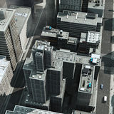 Urban Rooftops. Aerial view of a 3d City Render Royalty Free Stock Photography