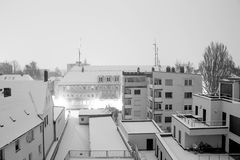 Urban rooftops in snow
