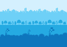 Urban Rural and Industrial Landscape Silhouette Background Stock Image