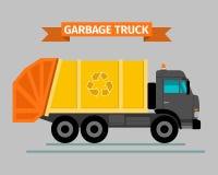 Urban sanitary vehicle garbage truck. Urban sanitary vehicle garbage front loader truck, vector Royalty Free Stock Photos