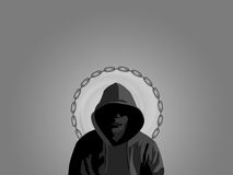 Urban savier. Sullen looking youth with a halo made from chain stock illustration