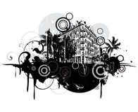 Urban scene. With building, trees and design elements Stock Photo