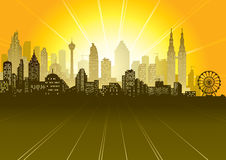 Urban scene. Urban sunrise or sunset scene, vector illustration eps file Stock Photography