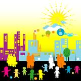 Urban scene. Design with various silhouettes of children and adults Stock Images