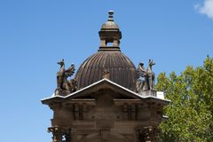Ornate dome of 1884 baroque-inspired Victorian Gothic sandstone fountain. Urban scene around Sydney, Australia royalty free stock photo