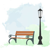 Urban Scene with Bench and Street Light Royalty Free Stock Photo