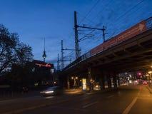 Urban scene of Berlin city at dusk royalty free stock image