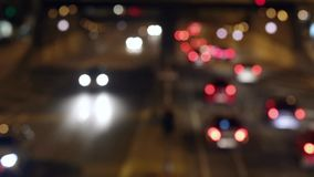 Urban scene blurred night traffic in Barcelona.06 stock footage