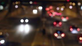 Urban scene blurred night traffic in Barcelona.06 stock footage