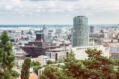 Urban scene in Bratislava, capital of Slovakia, retro photo filt Stock Photography