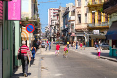Urban scene at a busy street in downtown Havana Stock Images