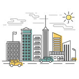 Urban Scene, city street with buildings and cars. Vector illustration in flat style. Stock Photo