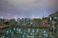 Urban scene of crowded apartment block in shanghai Stock Photo