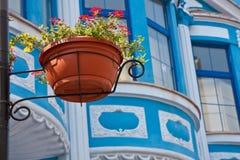 Urban Scene Detail. Flower pot on a post in historic Plovdiv, Bulgaria Stock Photo