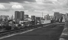 Urban scene at Guadalupe in Makati City, Metro Manila, Philippines. In black and white color tone stock photos
