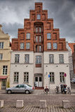 Urban scene in the historic old town of Lubeck, Germany Stock Photos