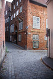 Urban scene in the historic old town of Lubeck, Germany Stock Images