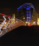 Urban scene in the night. Perspective view from the bridge on a modern building in the night. Berlin, Germany, Mitte district Royalty Free Stock Photos