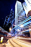 Urban Scene. A night city view of Central district Hong Kong Stock Image