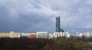 Urban scene with rainbow. In Wroclaw, Poland Royalty Free Stock Photos