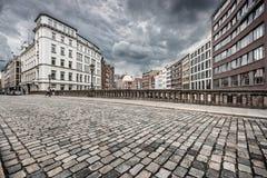 Urban scene with retro vintage Instagram style monochrome filter Stock Image