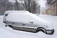 Urban scene after snowfall. Stock Photos