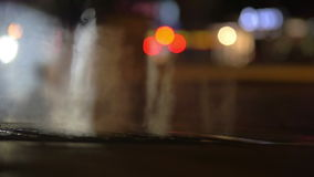 Urban scene with steaming manhole stock footage