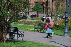 Urban scene and Typical colonial Architecture in Cusco stock photo